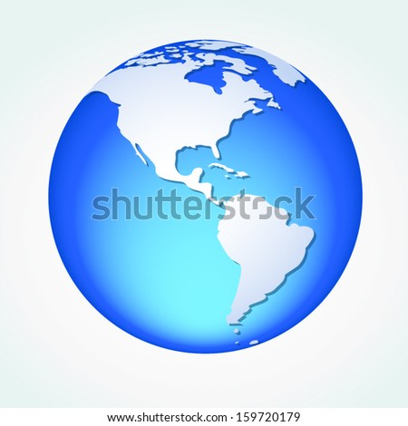 Global, Vector illustration of Global map in America Continent view. - stock vector