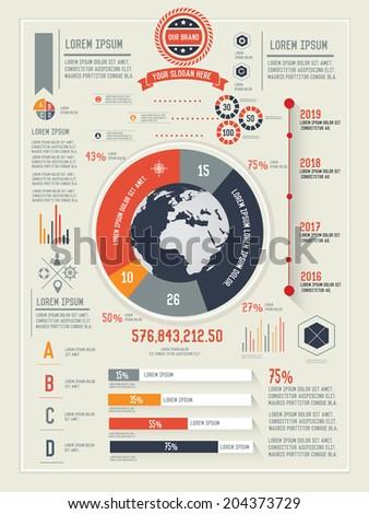 Global,Vector set of infographics elements - stock vector