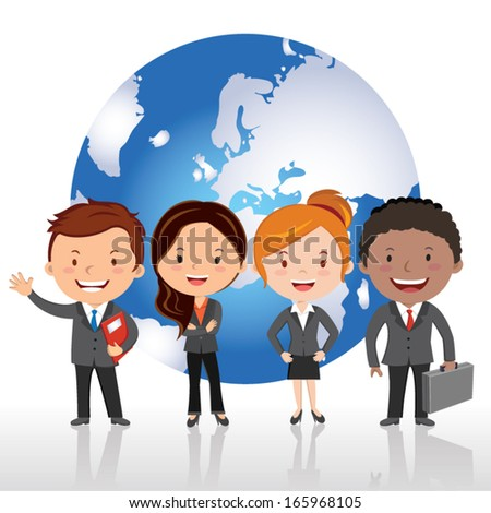 Global virtual team. Vector illustration of Global business team standing in a row against global background. - stock vector