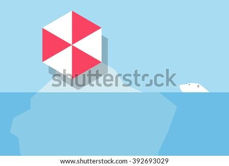 Global warming, A polar bear can not access a small iceberg occupied by a beach umbrella. - stock vector