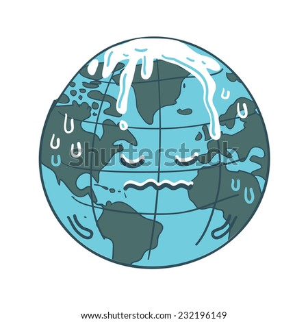 Global warming cartoon vector - stock vector