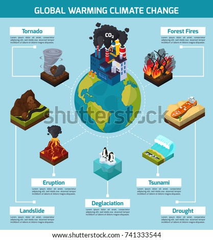 Global warming climate change orthogonal isometric em vetor stock global warming climate change orthogonal isometric infographics with natural disasters and earth with factory vector illustration ccuart Gallery