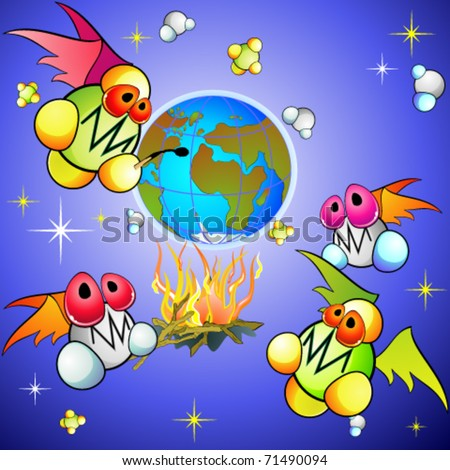 Global warming concept with cartoon molecules of methane and carbon dioxide - stock vector
