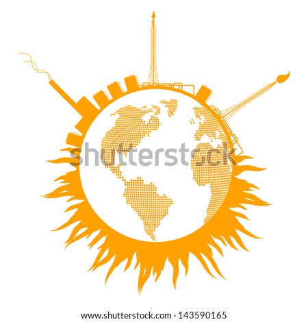 Global warming concept with globe refinery smoke vector background concept - stock vector