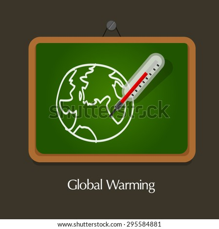 global warming globe thermometer education - stock vector
