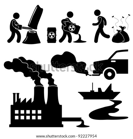 Global Warming Illegal  Pollution Destroying Green Environment Concept Icon Symbol Sign Pictogram - stock vector