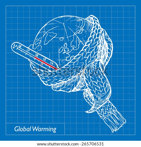 Global warming is one of the most acute environmental problems of the Earth. EPS10 vector illustration imitating blueprint style scribbling with white marker. - stock vector