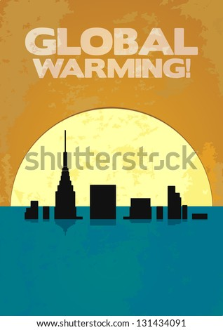 Global Warming Leads to the Great Flood - stock vector