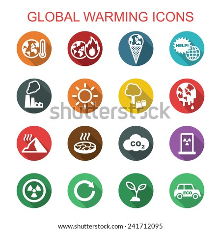 global warming long shadow icons, flat vector symbols - stock vector