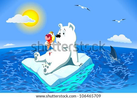 Global Warming. Polar bear on on melting ice in the ocean. The sun shines brightly on the sea calm. Bear upset and surprised looks at the melted ice cream. It lies in wait for the shark - stock vector