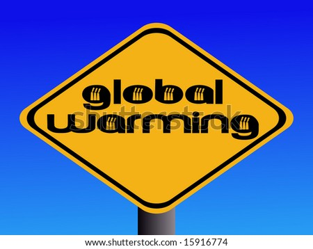 Global warming text with industrial chimneys sign illustration
