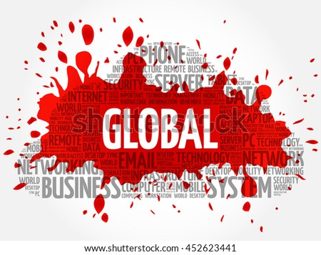 GLOBAL word cloud collage, business concept background - stock vector