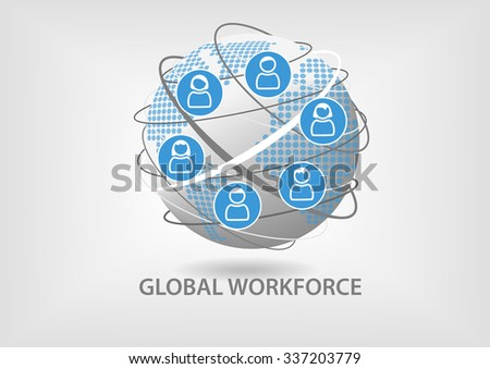 Global workforce concept. Illustration of collaborative teamwork with icons of employees - stock vector