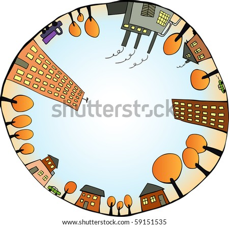 Global world as closed ecological system. Vector illustration - stock vector