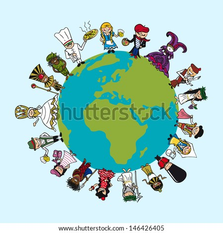 Global world cartoon people with distinctive around the Earth. Vector illustration layered for easy editing. - stock vector