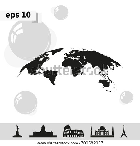Global world map vector icon earth vectores en stock 700582957 global world map vector icon earth planet illustration simple flat globe pictogram gumiabroncs Image collections