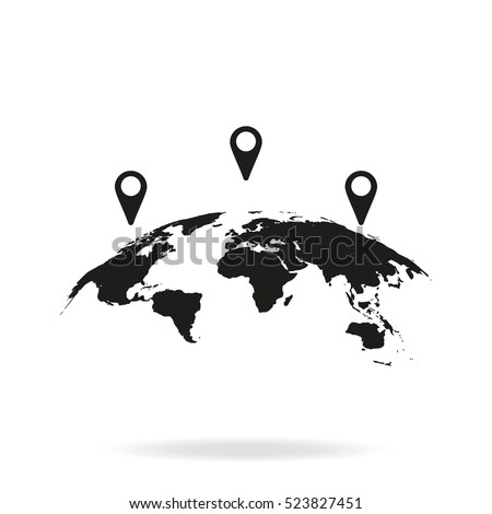 Global world map vector icon simple vectores en stock 534673948 global world map with geo location pins vector icon simple flat gps pictogram isolated on gumiabroncs Image collections