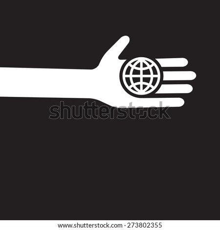 global world - small planet in the hand  - stock vector
