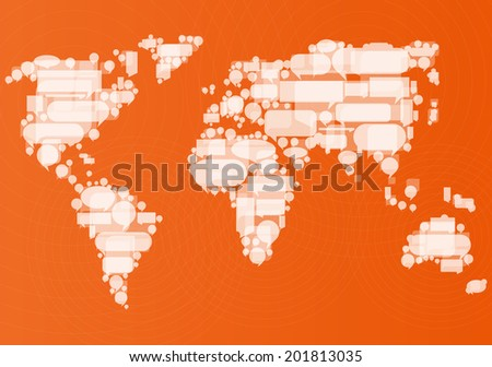 Globalization concept of business and communication vector background concept made of World map and speech bubbles - stock vector