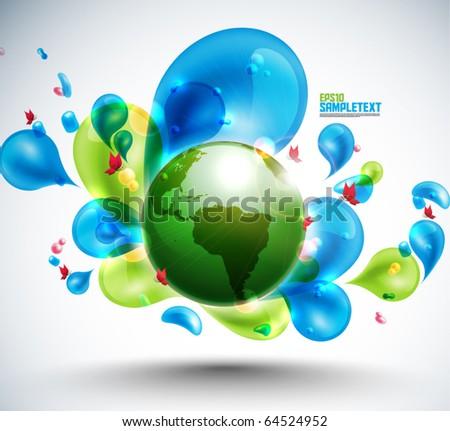 Globe Among Funky Elements - stock vector