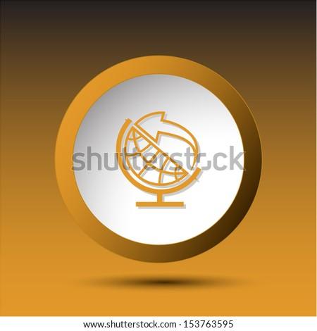 Globe and arrow. Plastic button. Vector illustration. - stock vector