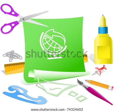 Globe and arrow. Vector paper template. - stock vector