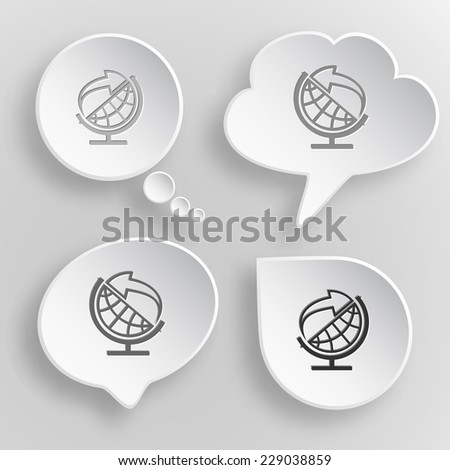 Globe and arrow. White flat vector buttons on gray background. - stock vector