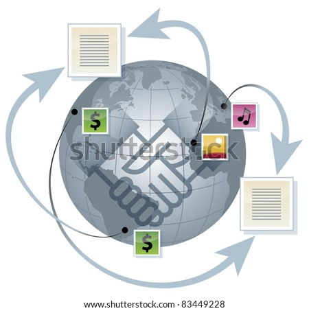 Globe and business deal. Shaking hands - stock vector