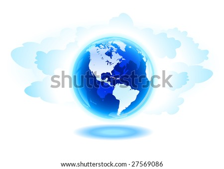 Globe and clouds vector illustration. Elements are separated layers in vector file. - stock vector
