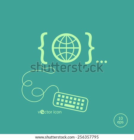 Globe and flat design elements. Design concept icons for application development, web page coding and programming,  web design, creative process, social media, seo. - stock vector