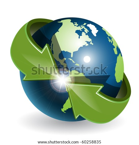 Globe and green arrows - stock vector