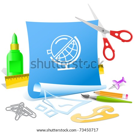 Globe and loupe. Vector paper template. - stock vector