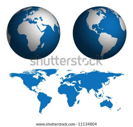 Globe and Map of the World.  Map was manually traced in illustrator from public domain world map.  No transparency. - stock vector