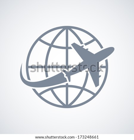 Globe and plane travel icon isolated vector illustration - stock vector