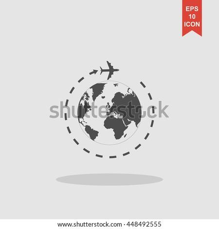 Globe and plane travel icon. Vector Eps 10 - stock vector