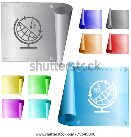 Globe and recycling symbol. Vector metal surface. - stock vector