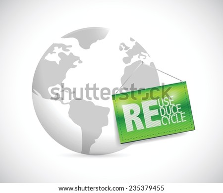 globe and reduse, reuse, recycle banner illustration design over a white background - stock vector