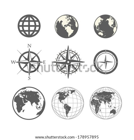Globe and wind rose scheme collection - stock vector
