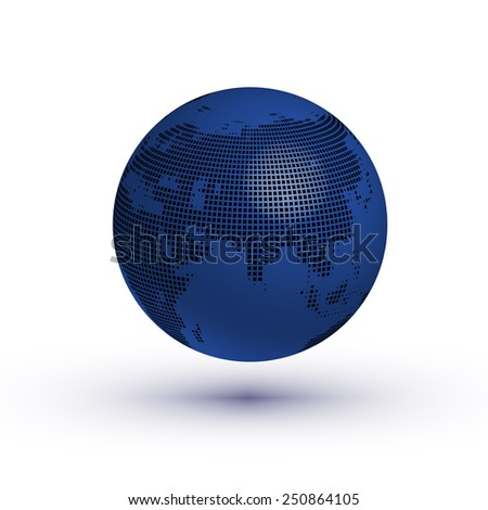 Globe asian view with reflection vector - stock vector