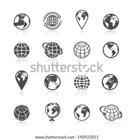 Globe black and white earth world globe symbol icons set vector illustration