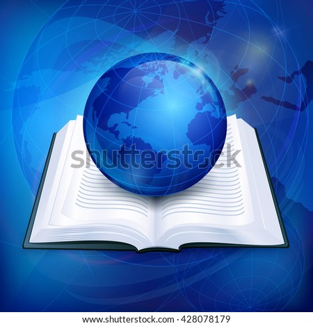 Globe blue sphere earth on book vector illustration. Icon for business. Sciense background, education sign - stock vector