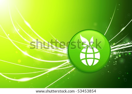 Globe Button on Green Abstract Light Background Original Illustration