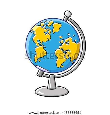 Globe cartoon icon isolated, western hemisphere. - stock vector