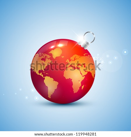 Globe christmas ball - stock vector