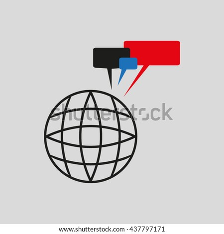globe dialog, vector illustration - stock vector