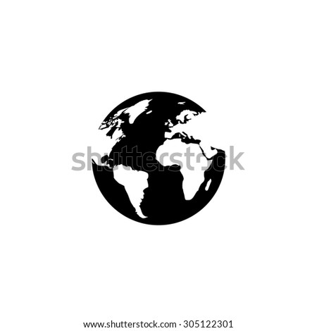 Globe earth. Black simple vector icon - stock vector
