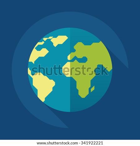 Globe earth icon. Flat style. Vector illustration - stock vector