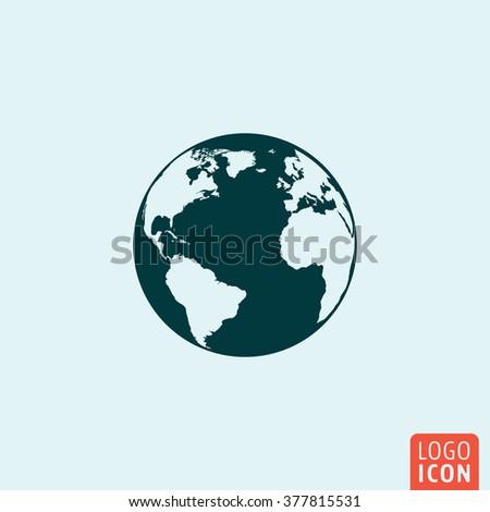 Globe earth icon. Globe earth icon. Globe earth logo. Globe earth symbol. Globe earth image. Globe isolated icon minimal design. Vector illustration. - stock vector