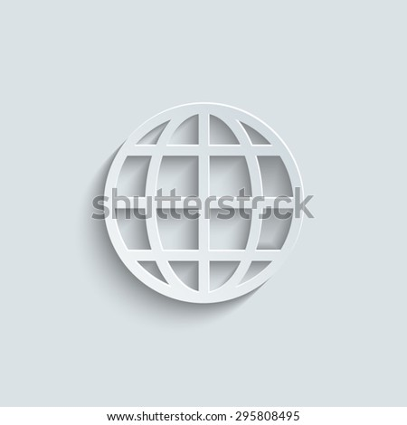 Globe earth icon with shadow - stock vector