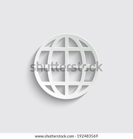 Globe earth icon with shadow on a grey background - stock vector